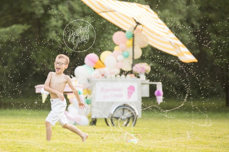 Sprinkler Photo Shoot | Ice Cream Themed Party Inspiration | Child Photographer | Dream Session | www.brittanygidley.com