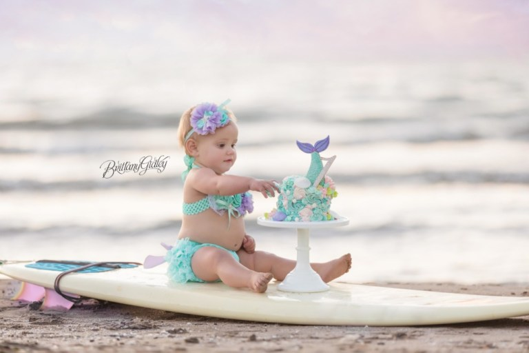 Mermaid Cake Smash Surf Board Cake Smash | Beach Photo Shoot | Mermaid Dream Session | Baby Photography | One Year Baby | Family Photo Shoot | Edgewater Beach | Cleveland Ohio | www.brittanygidley.com