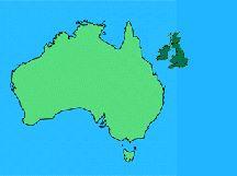 Comparison map of Australia and United Kingdom of Great Britain