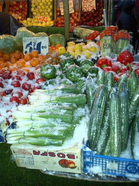 Snowy Brixton Market veg, by @Brixtonite on Twitter