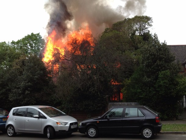 Clinton House, Palace Road, in flames earlier. Picture by