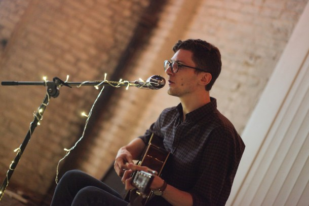Chris Belson at a Laid Bare night. Photo by Petra Gent