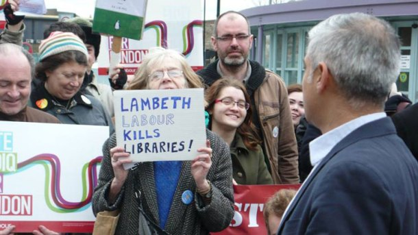 Laura Swaffield of Friends of Lambeth Libraries confronts Labour mayor candidate Sadiq Khan