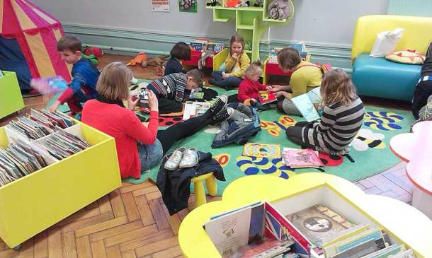 The sit-in starts in the children's library