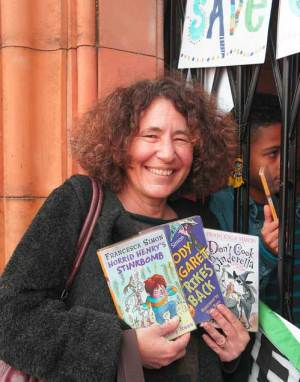 Francesca Simon, author of the Horrid Henry books, outside the Carnegie