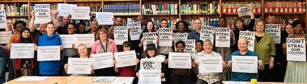 Librarians in Brixton library show their support