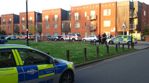 There was a strong police presence at Marcella Road, where the shooting took place