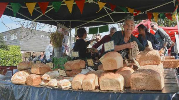 The Old Post Office Bakery's stall sold loaves made from flour milled by the windmill