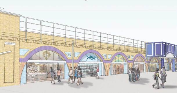 Image showing refurbished arch and shop fronts on Atlantic Road