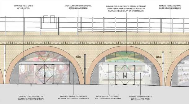 Image showing refurbished arch and shop fronts on Brixton Station Road