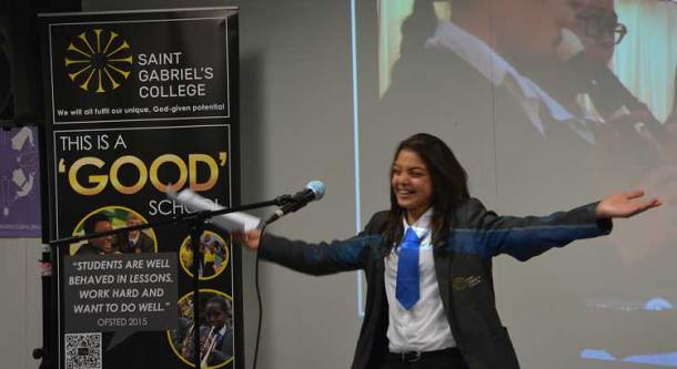 St Gabriel's College student Nora Serrieh welcomes refugee families