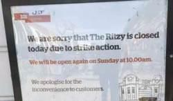Ritzy closed notice