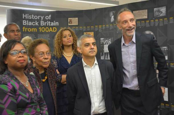 London mayor Sadiq Khan marked Black History Month with a visit to the Black Cultural Archives on Windrush Square before the Electric Avenue event – seen here with BCA deputy director Doreen Foster, chair Dawn Hill, vice-chair Miranda Brawn and director Paul Reid
