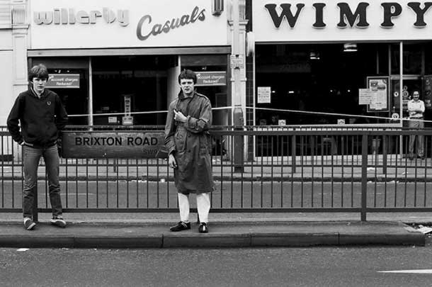 Black and white picture of Brixton in the eighties