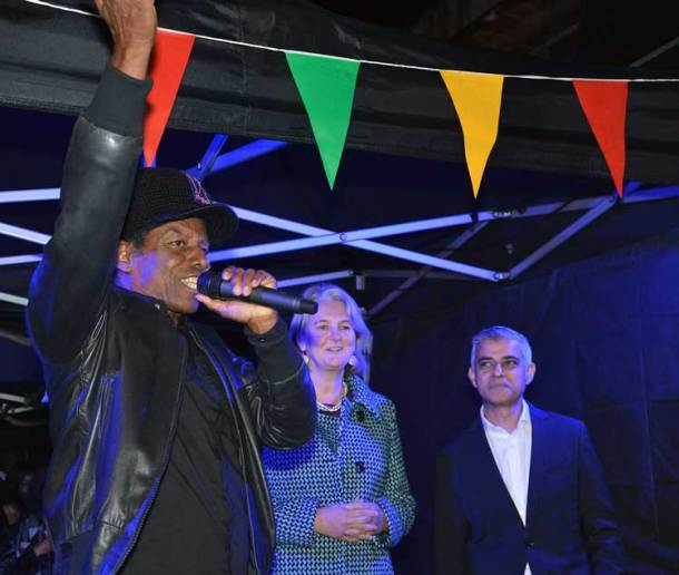 Lib Peck and Sadiq Khan watch as Eddy Grant counts down to the switch-on