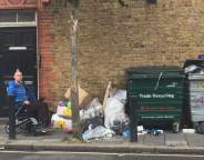 George Hornby surveys rubbish left on Milkwood Road