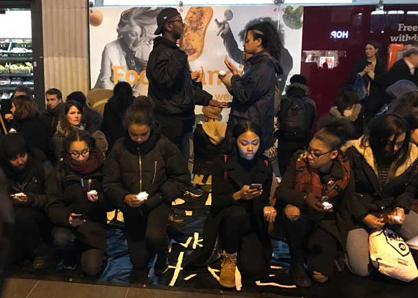 Advocacy Academy students take their oath against racism outside Brixton tube