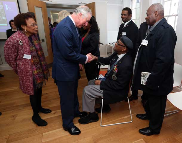 Prince Charles meets veteran from West Indian Association of Service Personnel