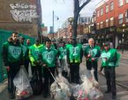 McDonalds staff volunteering with members of the public to pick up litter on Coldharbour Lane