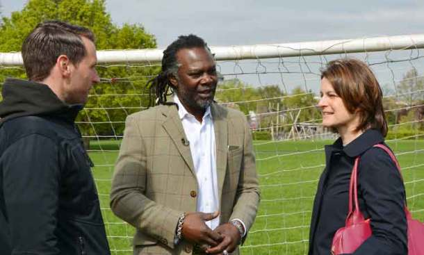 James Gregory, London and South East network co-ordinator for StreetGames, at the launch with Levi Roots and Helen Hayes