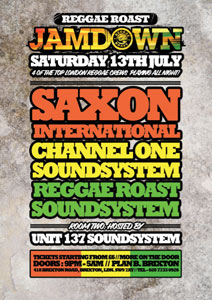 Reggae Roast Jamdown with Saxon International, Channel One, Reggae