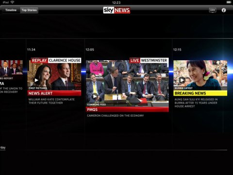 Sky News iPad timeline