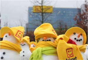 Snowmen in front of Telent HQ