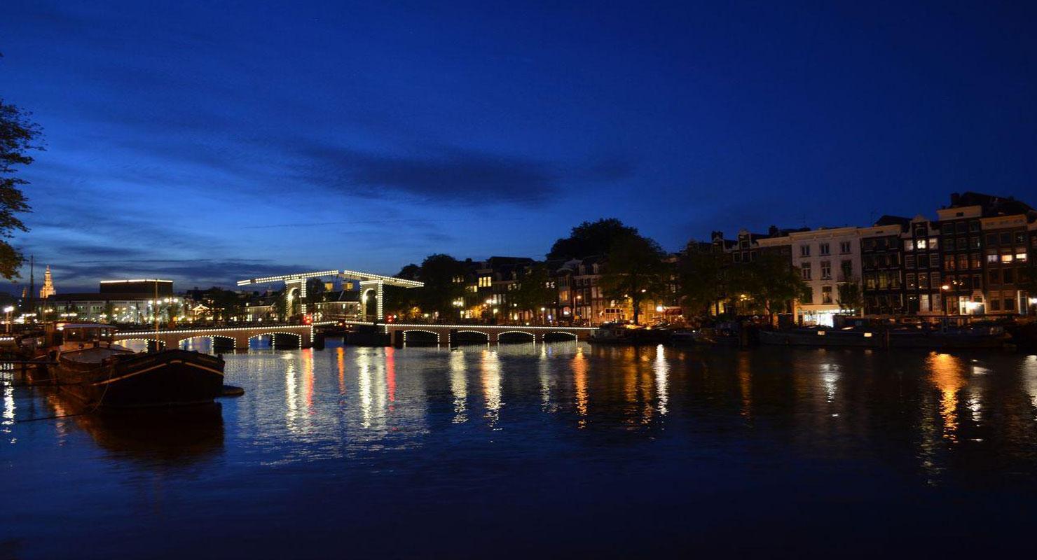 Amsterdam Skinny Bridge by Night