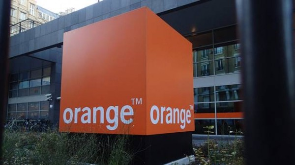 Orange building with logo