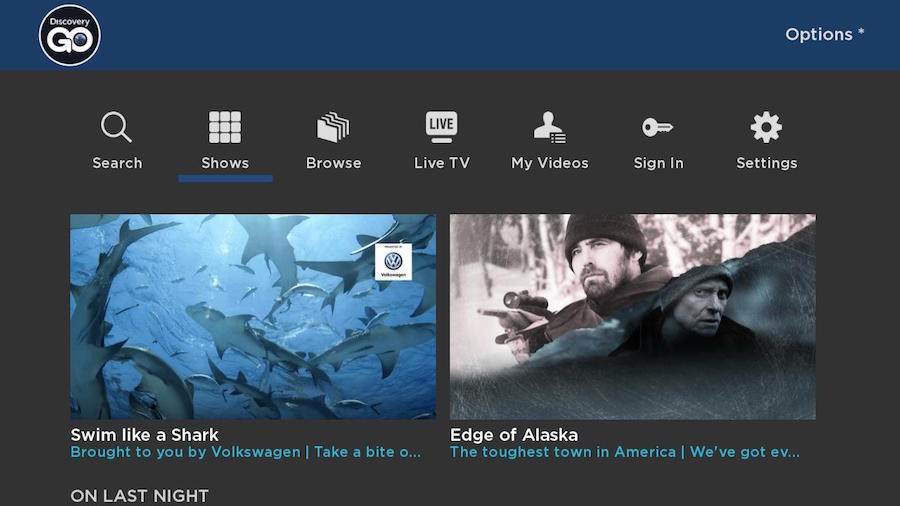 Discovery Go o Roku Home-Screen