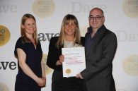 BPG chairman Emily Booth (left) presents the Best Multichannel Programme award for Mad Dogs to Left Bank's Marigo Kehoe and Sky One's Huw Kennair Jones