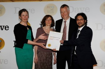 Left to right Susan Jeffries, BPG Radio Committee, Emma Kingsley, Producer, John Wilson, Presenter. Mohit Bakaya, commissioning editor Archive on 4