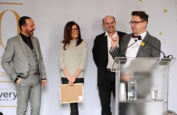 Google Box Producers, Stephen Lambert and Tania Alexander, along with hairdressers Stephen Webb and Chris Steed receive their award for Best Factual Entertainment