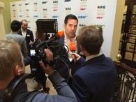 Rob Delaney being interviewed