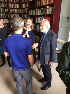Caroline Frost and Lord Puttnam and the A Future for Public Service Television report launch.