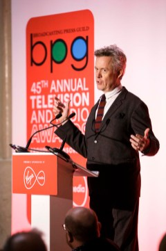 Actor Alex Jennings Best Actor award for A Very Englsih Scandal collects on behalf of Hugh Grant