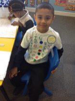 Faiz in his handmade t-shirt!