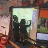 We have been working together to draw spiders on the board.