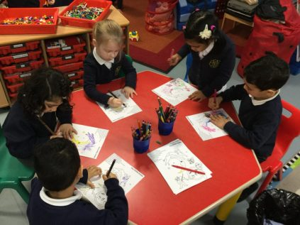 We counted and coloured all the characters from the rhyme.