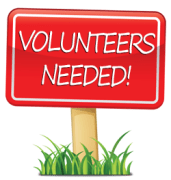 Volunteers needed red sign
