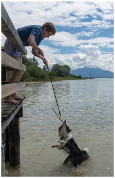 Pepper am Chiemsee: Hundeangeln