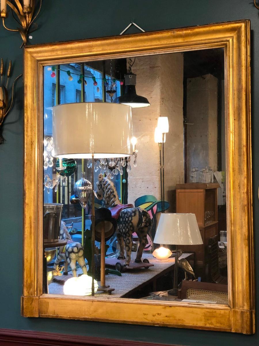 grand miroir de cheminee en bois dore