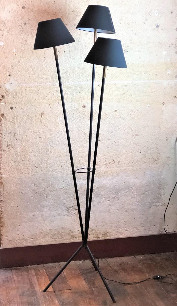 lampadaire vintage 3 abats jour noir