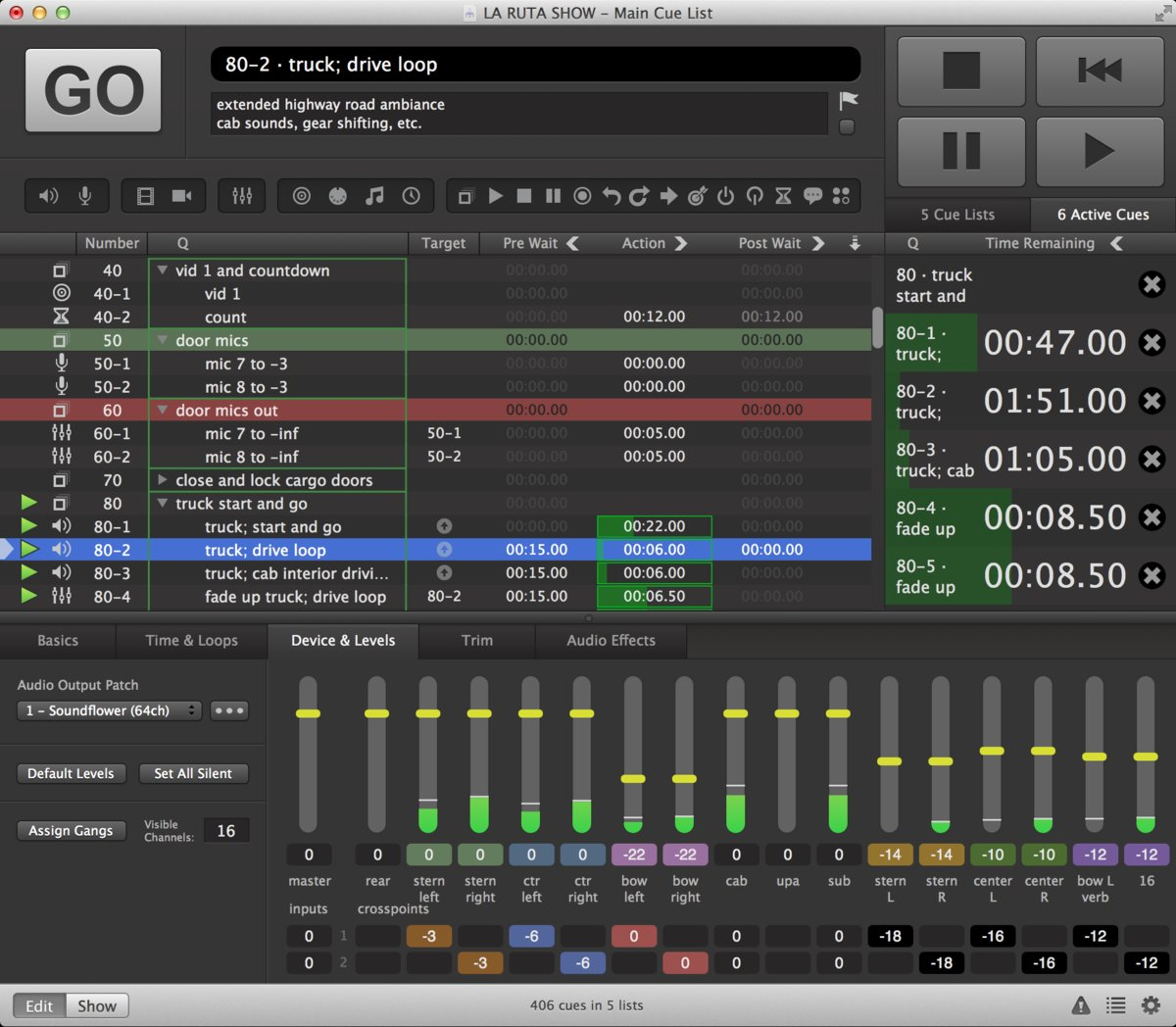 Backing Tracks in Qlab Software