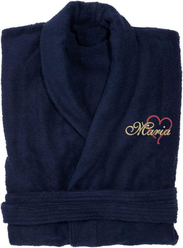 Marin badrock med broderat hjärta och personnamn