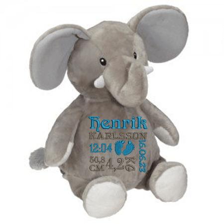 En rtor elefant som heter Elford, med jätteöron och en stor mage att brodera en personlig text på.