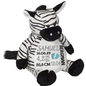 Svart/vit-randig gosedjur zebra som heter Zachary. Broderas på magen med en personlig brodyr.