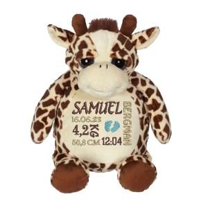 En härlig giraff som heter Googie, med plats för en stor personlig brodyr på magen.