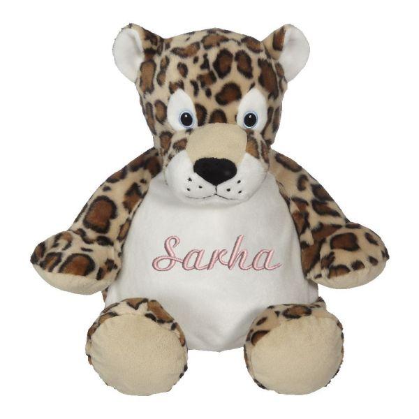 En härlig leopard som heter LeRoy, med plats för en stor personlig brodyr på magen.