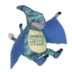 En härlig dinosaurien som heter Pierce, med plats för en stor personlig brodyr på magen.